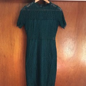 Lulus Remarkable Forest Green Lace Dress